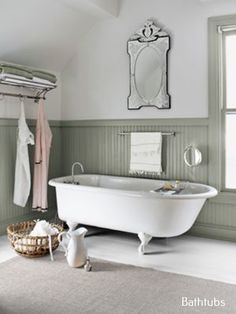 This is my Dream Tub. Bathroom Decorating and Design Ideas - Country Bathroom Decor - Country Living - gorgeous beveled mirror, nice wainscot, clawfoot tub Country Bathroom Decor, Home, Bathroom Decor, Interior, Beautiful Bathrooms, Vintage Tub, Clawfoot Tub, Wainscoting Styles, Bathroom Design