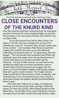 The Ankh-Morpork Times. The Truth shall have a skull and quite cross bones. Extra. CLOSE ENCOUNTERS OF THE KNURD KIND. page two. by David Green 25 Nov 2015