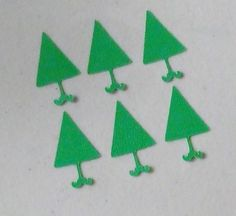 """6 Christmas Holiday Trees Cricut Punchies Die Cuts Cardstock Green 1.25"""" (D) #Unbranded"""