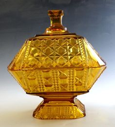 "EAPG ""Valencia Waffle"" pattern Amber Covered Compote made by Adams & Co circa x Amber Glass, Pattern Blocks, Block Patterns, Glass Company, Pattern Making, Valencia, Waffles, Perfume Bottles, Waffle"