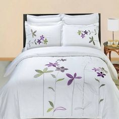 Modern Hotel Style Purple White Embroidered Floral Duvet Comforter Cover and Shams Set with Decorative Pillows. The bedding set is made of luxury 100 percent egyptian cotton for softness. Features embroidered purple and green flowers on a white backgrou Comforter Cover, King Comforter Sets, Duvet Bedding, Duvet Sets, Duvet Cover Sets, Cover Pillow, Queen Duvet, Quilt Cover, Bed Covers