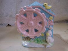 Child's Nursery Rhyme Vintage Rock a bye baby wind up ceramic planter 1950s music box.epsteam