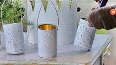 Soihtutelineet ja kynttilälyhdyt vanhoista säilykepurkeista. Kuva: Strömsö