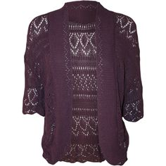 Margaret Crochet Knitted Cardigan (18 CAD) ❤ liked on Polyvore featuring tops, cardigans, purple, womens plus tops, purple top, crochet top, purple cardigan und plus size tops