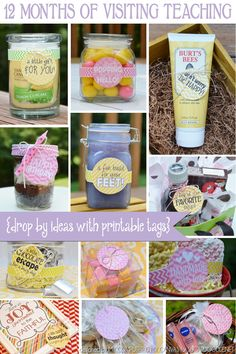 VT-FREE PRINTABLE - 12 Months of Visiting Teaching. Super cute gift tag set great for any occasion, not just LDS Visiting Teaching. Tags to uplift, encourage, show friendship, birthday or just to say hello Visiting Teaching Message, Visiting Teaching Handouts, Home Teaching, Teaching Ideas, Relief Society Activities, Relief Society Handouts, Teacher Appreciation, Homemade Gifts, Little Gifts
