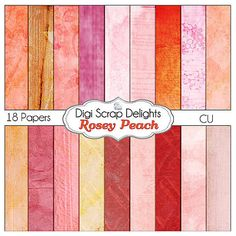 Digital Papers - Shabby Chic Rosey Peach for Art Journaling, Scrapbooking, Crafts, Invitations, Digital Scrapbooking