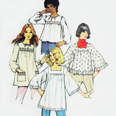 Smock tops! Wow, that brings back memories! I made one in Home Economics sewing class (that year, 1976 was the last year in which only girls took sewing & cooking.)