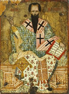 """Basil the Great icon, Greek, c. 36 x 26 cm. On the Gospel book: """"I am the door; whoever enters through me will be saved. Catholic Doctrine, Christianity, Fall Of Constantinople, Christian Artwork, Russian Icons, Byzantine Art, Early Christian, Saints, Art Icon"""