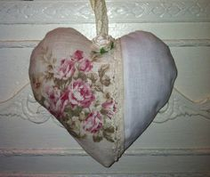 Lavender Heart Sachet Linen and Roses by CynthiaMooreDesigns, $15.00