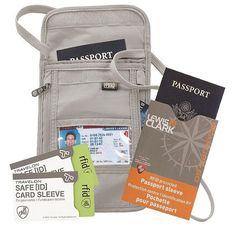 TRAVEL WALLET MONEY BELT Includes Lewis N Clark RFID Neck Stash, (1) RFID Passport Shield and (2) Travelon Credit Card rfid sleeves (Tan)