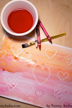 Valentines sugar painting - it produces a wonderfully glossy effect. A great craft for toddlers and preschoolers. Kids Painting Projects, Painting Activities, Painting For Kids, Projects For Kids, Crafts For Kids, Arts And Crafts, Art Crafts, Toddler Preschool, Toddler Crafts