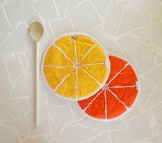 orange and lemon slice potholders - zesty lemon slice - kitchen potholders - yellow - orange - orange slice- fruit potholders - foodie gift