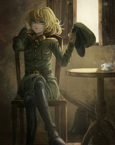 Anime picture youjo senki tanya degurechaff single tall image short hair looking at viewer open mouth blue eyes blonde hair crossed legs adjusting hair messy hair girl uniform boots thigh boots military uniform chair table 510091 en Manga Girl, Manga Anime, Anime Art, Guerra Anime, Tanya Degurechaff, Tanya The Evil, Anime Military, Girls Uniforms, Cosplay