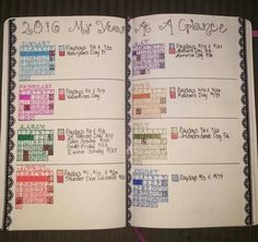 Year at a Glance in my BUJO!