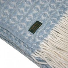 Cob Weave Duck Egg Blue Pure New Wool Throw / Blanket
