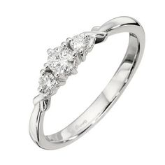 Beaut xx H.Samuel 9ct White Gold Quarter Carat Diamond Trilogy Ring-£625