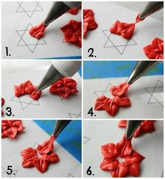 Poinsettia Royal Icing Accent Steps by Sweet Sugar Belle Cake Decorating Techniques, Cake Decorating Tutorials, Cookie Decorating, Cupcakes Decorating, Cake Icing, Royal Icing Cookies, Cupcake Cakes, Fondant Cakes, Sugar Cookies
