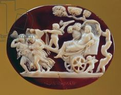 Cameo of Dionysus on a chariot pulled by Pysche, 1st century BC (onyx and sardonyx)