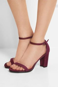 Heel measures approximately 80mm/ 3.5 inches Burgundy suede Buckle-fastening ankle strap Designer color: Bordeaux Made in Spain