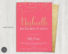 Nashville Bachelorette Party Glitter by paperandinkdesignco Weekend In Nashville, Bachelorette Party Invitations, Lets Celebrate, Beach Themes, Rsvp, Bride, Hens, Handmade Gifts, Party Ideas