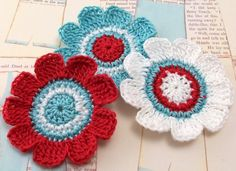 Crocheted Flower Applique  Aqua Red White by FineThreads on Etsy