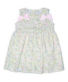 Green Floral Bow A-Line Dress - Infant & Toddler
