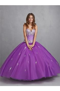 Ball Gown Strapless Sweetheart Purple Tulle Beaded Puffy Quinceanera Prom Dress Corset Back
