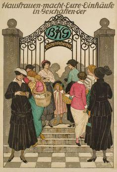 1915 Hausfrauen-macht-Eure-Einkäufein Geschäften der BKG, Swiss vintage advert poster