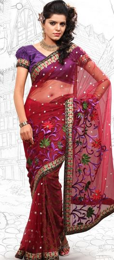 $50.89 Coral Net Latest Fashion Saree 16701 With Unstitched Blouse