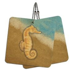 Pastel Seahorse Ocean Beach Vacation Wood MDF 4' x 4' Mini Signs Gift Tags * Click image for more details.