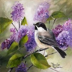 Art: Chickadee in the Lilacs 3 x 3 by Artist Paulie Rollins Pretty Birds, Beautiful Birds, Watercolor Bird, Watercolor Paintings, Bird Artwork, China Painting, Bird Drawings, Bird Pictures, Art Portfolio