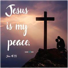 Christian quotes:jesus is my peace. Jesus Quotes, Faith Quotes, Bible Quotes, Bible 2, Jesus Is Risen, Jesus Is Lord, Jesus Christ, John 16 33, Inspirational Verses