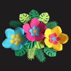 Your place to buy and sell all things handmade Flower Template, Tropical Leaves, Flower Petals, Hibiscus, Paper Flowers, Hawaiian, Party Themes, Mini, Birthday Parties