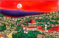 ARTFINDER: Nazareth city by DASMANG    (Gary Aitken ) - This is a commissioned piece for an Amazing  local restaurant the Nazareth Grill . #Architecture #city #painting #art #impressionism #Israel #colorful