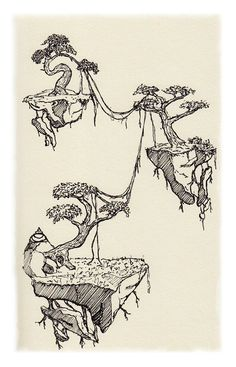 Floating Islands on Behance - pencil-drawings Fantasy Landscape, Landscape Art, Fantasy Art, Pencil Drawings, Art Drawings, Environment Concept Art, Ink Illustrations, Pen Art, Art Inspo