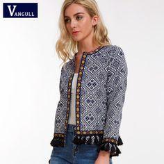 Vangull Bohemian Embroidered Jacket Basic Tassel Vintage Fringe Tape Trim Women Coat 2018 New Long Sleeve Elegant Boho Jacket