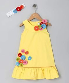 Yellow Flower Dress & Headband - Toddler & Girls by Donita - I LOVE the yo yos o.Yellow Flower Dress & Headband - I LOVE the yo yos on this dress! I am thinking that this would be fun to try to replicate for the girlie.Different types of frocks desig Little Dresses, Little Girl Dresses, Cute Dresses, Girls Dresses, Girls Frocks, Toddler Dress, Baby Dress, Toddler Girls, Dress Anak