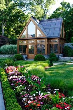 Traditional Landscape Design, Pictures, Remodel, Decor and Ideas - page 3 I so want this in my backyard! Greenhouse Shed, Greenhouse Gardening, Simple Greenhouse, Greenhouse Wedding, Container Gardening, Greenhouse Attached To House, Greenhouse Kitchen, Window Greenhouse, Portable Greenhouse