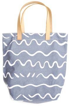 Wave Print Canvas Tote