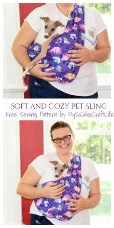 Dog Clothes Patterns, Sewing Patterns Free, Free Sewing, Pet Sling, Dog Carrier Bag, Girl And Dog, Dog Coats, Diy Stuffed Animals, Fabric Art