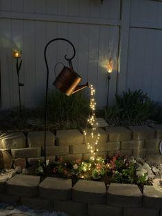 Garden Lighting Diy, Outdoor Garden Decor, Backyard Lighting, Garden Fairy Lights, Diy Yard Decor, Rustic Outdoor Decor, Balcony Lighting, Indoor Garden, Backyard Patio