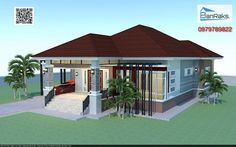 Single story house with hip roof, 3 bedrooms, 2 bathrooms, beautifully decorated in modern tropical style – MyhomeMyzone.com