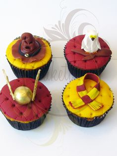 Harry Potter Cupcake - Caketutes Cake Designer- love the quilted look