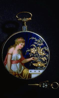 Pocket watch. seated woman in pseudo-antique costume. Watchmaker J.A. Gaudy, Geneva. Gold, around 1780.