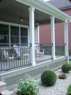 If your deck or porch is elevated, even a little, above grade level, it's best to polish off the underside with landscaping, skirting or other methods. Find and save ideas about Deck skirting ideas Front Porch Deck, Front Porch Railings, Front Verandah, Front Porch Design, Screened In Porch, Deck Railings, Railing Ideas, Front Porches, Front Porch Posts