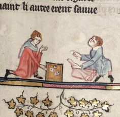 Oxford University students playing games with dice, circa 1344. From MS Bodley 264, Bodleian Library.