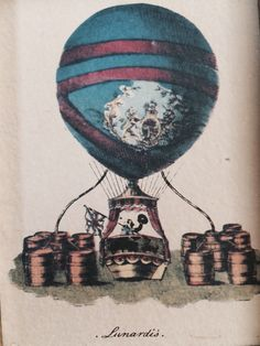 Vintage Framed Hot Air Balloon Print: Lunardi's