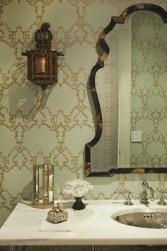 Great wallpaper in a Lee Ann Thornton-designed bathroom