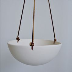 Hanging Porcelain Planter with Leather Cord by RevisionsDesign