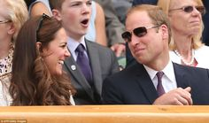 The Duke and Duchess of Cambridge left Prince George at home today for an afternoon at the tennis, cheering on Scotland's Andy Murray against Bulgaria's Grigor Dimitrov in the quarter finals at the All England Tennis Club in south west London. Duke William, Prince William And Kate, William Kate, Duchess Kate, Duke And Duchess, Duchess Of Cambridge, Princess Kate, Princess Charlotte, Kate Middleton